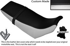BLACK & WHITE CUSTOM FITS YAMAHA DT 125 RE 04-07 DUAL LEATHER SEAT COVER
