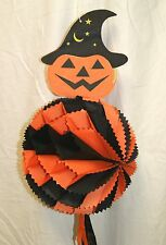 "Vintage  Black Orange Jack O' Lantern 3-D Halloween Decoration - 34"" H x 10"" Dia"