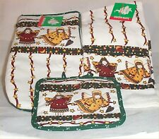 3 Pc Kitchen Towels Hot Pads Oven Mits Angel Christmas Holiday Set