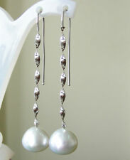 WHITE SOUTH SEA 14.2mm PEARLS 100% UNTREATED+18ct SOLID WHITE GOLD EARRINGS+CERT