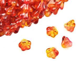 25 Fuchsia / Lemon Bell Flower Glass Beads 8MM