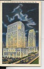 court house and city hall by night ,kansas city mo,postcard 1940s era