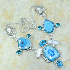 LOVELY DRUSY DRUZY AGATE BLUE TOPAZ BIWA PEARL SILVER STATEMENT NECKLACE 19 1/2