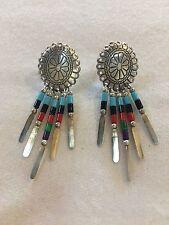 ❤VINTAGE❤ Concho Southwestern Chandelier Sterling Earrings Turquoise Boho