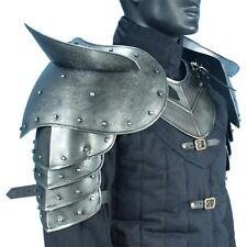 Dark Drake Pauldrons, Steel, Shoulder Armor, LARP, Medieval, Theater, Knight