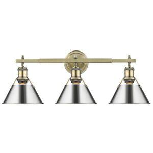 Golden Lighting Orwell 3 Light Bath Fixture, Aged Brass/Chrome - 3306-BA3AB-CH