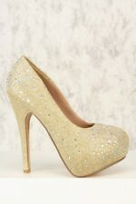 Prom Wedding Glittery Rhinestone Close toe Platform Stiletto high Heels Pump H59