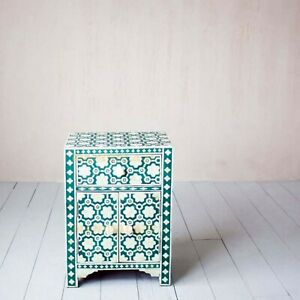Bedside Bone Inlay Teal Green Bone Inlay Bedside Nightstand Side Table End Table