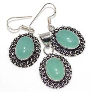 Aqua Chalcedony 925 Silver Plated Handmade Pendant Earrings Set Birthday Gift GW
