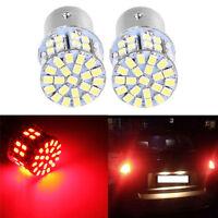 2x Red 12V 3W BAY15D 50 SMD 1157 1206 LED Light Car Tail Stop Brake Lamp Bulb