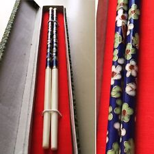 ENAMELED CHINESE CHOPS STICKS ADORNED CLOISONNÉ AUTHENTIC VINTAGE