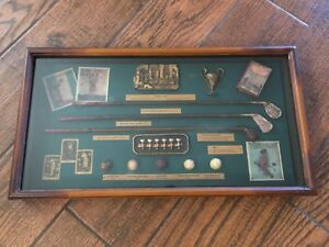 History of Golf Shadow Box golf balls and clubs Memorabilia man cave 3D