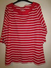Ladies Red/White Striped Top By Peacocks Size 20