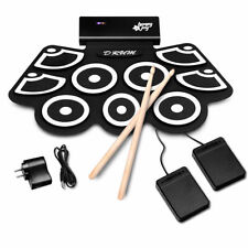 Electronic Roll Up Drum Set Silicone Rechargeable Bluetooth w/Foot Pedals Sticks