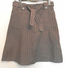 FAT FACE UK10 EU38 US6 BROWN SKIRT WITH ORANGE STRIPES & BELT IN 100% COTTON