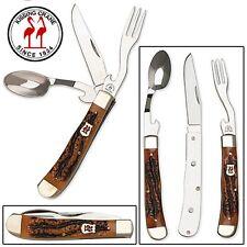 Kissing Crane Amber Jigged Bone Hobo Camping Utensil Tool Pocket Knife KC5136