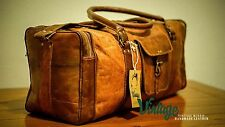 NEW Vintage Handmade Goat Leather Duffle Bag,Gym Bag,Overnight Bag Square 22""