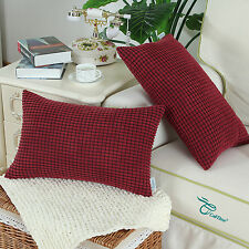 2Pcs Burgundy Cushion Covers Throw Pillows Shells Corduroy Corn Striped 12X20''