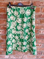 L K Bennett vibrant green/white floral silk lined knee length skirt