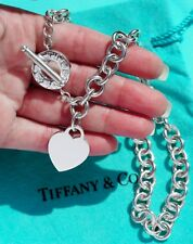 Tiffany & Co Sterling Silver Heart Tag Toggle Charm Choker Necklace 16 Inch