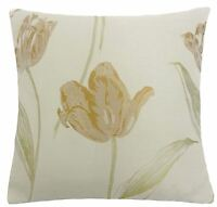 """FILLED MODERN TULIPS FLORAL LEAF LEAVES RED CREAM BEIGE THICK WOVEN CUSHION 18"""""""