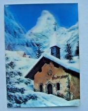 Toppan 3 D Stereo Lenticular  Postcard a Church in Alps
