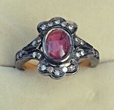 1ct Oval Ruby Diamond Ring Size 6 Vintage Estate 1/2 Silver And Gold
