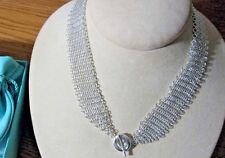 NEW Tiffany & Co. Elsa Peretti Sevillana Mesh Circle Toggle Necklace Silver 925