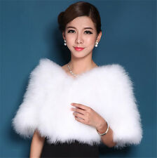 Women White Real Ostrich Feather Fur Cape Stylish Cape Stole Wrap Ladies Shawl