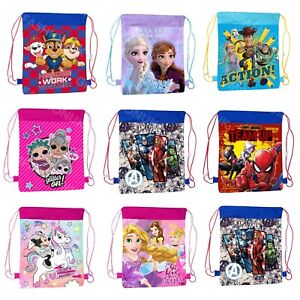 Kids Boys Girls Character School PE Swim Shoe Sports Drawstring Bag Backpack