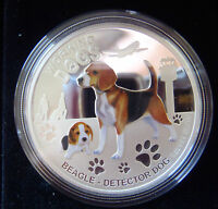 2011 Working Dogs, Beagle Detector Dog, 1oz Silver Proof Coin, RARE