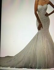 White Mermaid Lace wedding Bride dresses Floor length Bridal Dress Stock US4