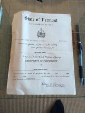 Vermont Civil Defense Certificate Cold War History 1953