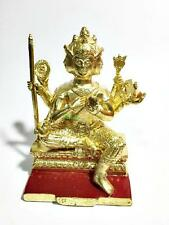 6465-THAI AMULET BUDDHA BRONZE STATUE PHA-PHOM 4 FOUR FACE GOD GOLD 24K LP KEY