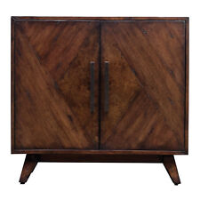 Elegant Geometric Pieced Burl Wood Accent Cabinet | Mid Century Modern Table