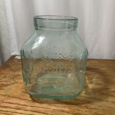 Lg Blue Tinted Clear Glass Square Cookie Jar Biscuits Biscotto Cookies Italy