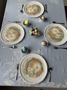 Pottery Barn Kids ~ Beatrix Potter ~ Easter ~ Charger Plates Melamine S/4 ~ NEW!