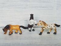 Vintage Jasman Horse Pony Lot 3  Brown White Running Stance Trinket Novelty Toy