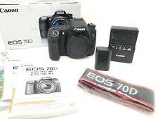 Canon EOS 70D (solo corpo) con batteria, caricabatterie, cinturino originale scatola e manuali.