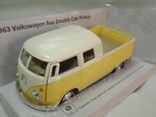 "1963 Volkswagen Bus Double Cab Pickup Yellow Die Cast Metal Model 5"" New In Box"