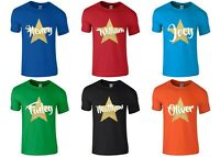 Boys Personalised Name Gold Glitter Star T-Shirt 1-14 Years Customised Printed