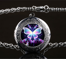 Fluorescent Butterfly Cabochon Glass Gun Black Locket Pendant Necklace