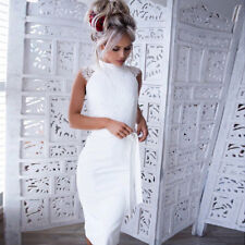 Womens Lace Hollow Bodycon Cocktail Evening Party Short Midi Pencil Dress UK White 6
