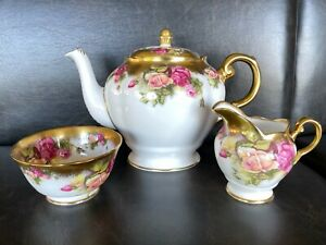 Royal Chelsea Golden Rose Teapot, Creamer and Sugar