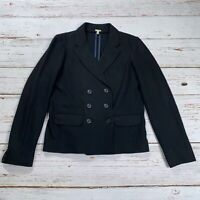 J Crew Womens 8 Tall Double Breasted Wool Blazer Jacket Black Flap Pockets