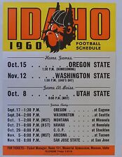 1960 University of Idaho Vandals College Football Schedule Poster