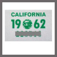 1962 California YOM DMV Motorcycle License Plate Sticker / Tag CA - 1956 plate