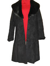 Women's Outerwear Winter Black faux suede whipstitched coat jacket size 16 $189