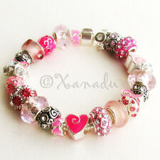 Pink Warrior Breast Cancer Awareness Pink Ribbon European Style Charm Bracelet