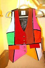 """RARE VINTAGE RAW SILK ELECTRIC """"TIMES 7""""   JEWELED  BUTTON  TODD OLDHAM  VEST /M"""